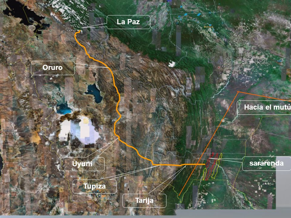 La Paz Oruro Hacia el mutún Uyuni sararenda Tupiza Tarija