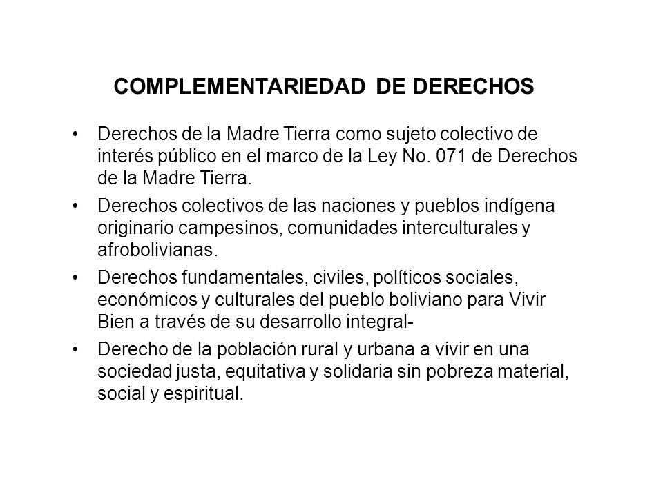 COMPLEMENTARIEDAD DE DERECHOS