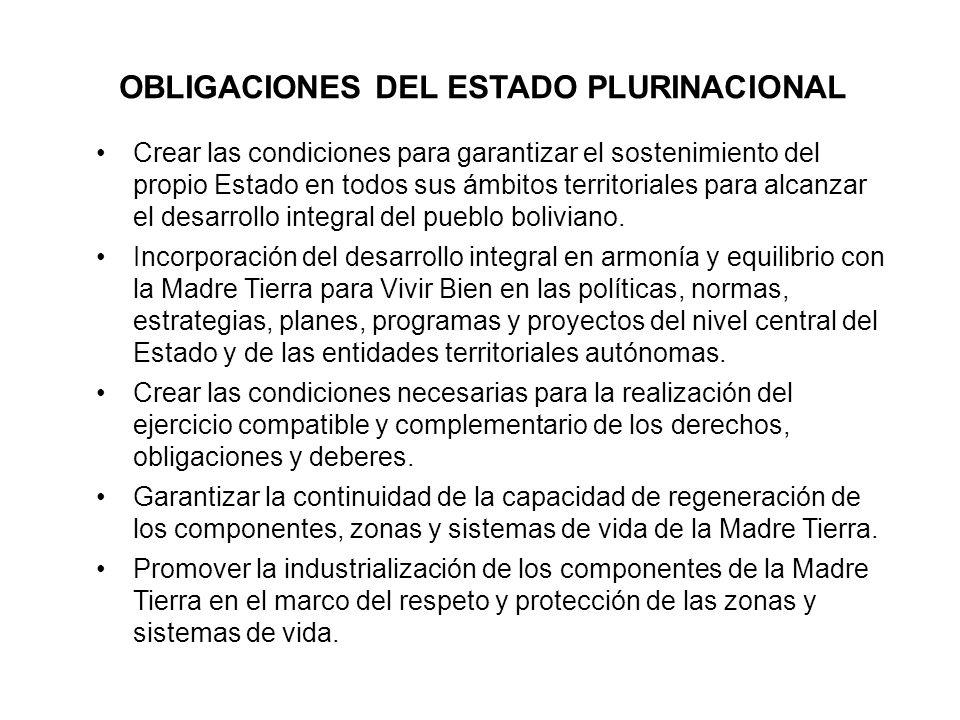 OBLIGACIONES DEL ESTADO PLURINACIONAL