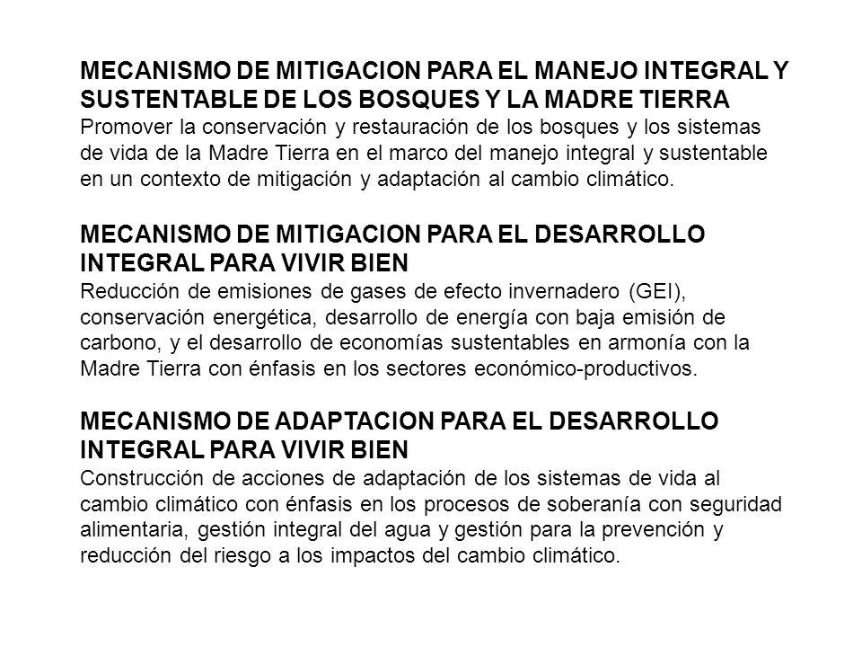 MECANISMO DE MITIGACION PARA EL DESARROLLO INTEGRAL PARA VIVIR BIEN