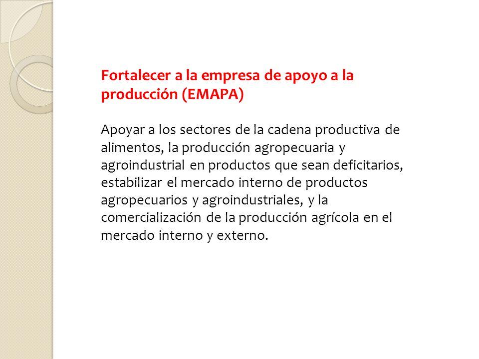 Fortalecer a la empresa de apoyo a la producción (EMAPA)
