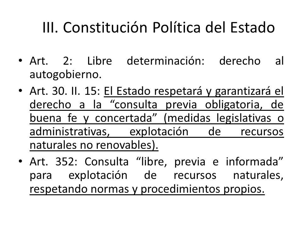 III. Constitución Política del Estado