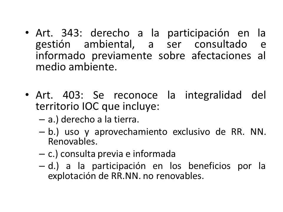 Art. 403: Se reconoce la integralidad del territorio IOC que incluye: