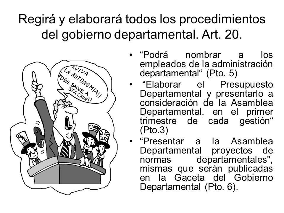 Regirá y elaborará todos los procedimientos del gobierno departamental