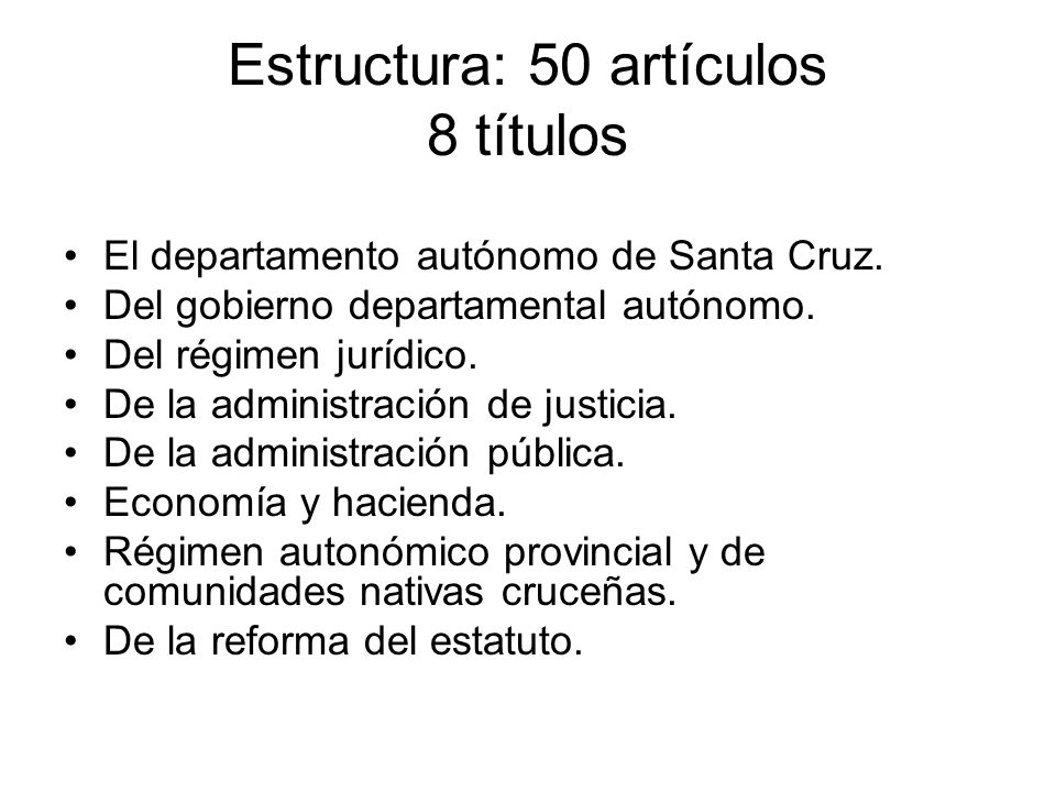 Estructura: 50 artículos 8 títulos