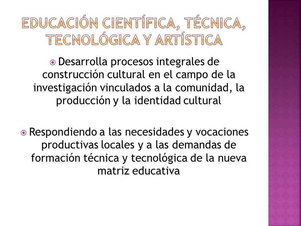 Educación científica, técnica, tecnológica y artística