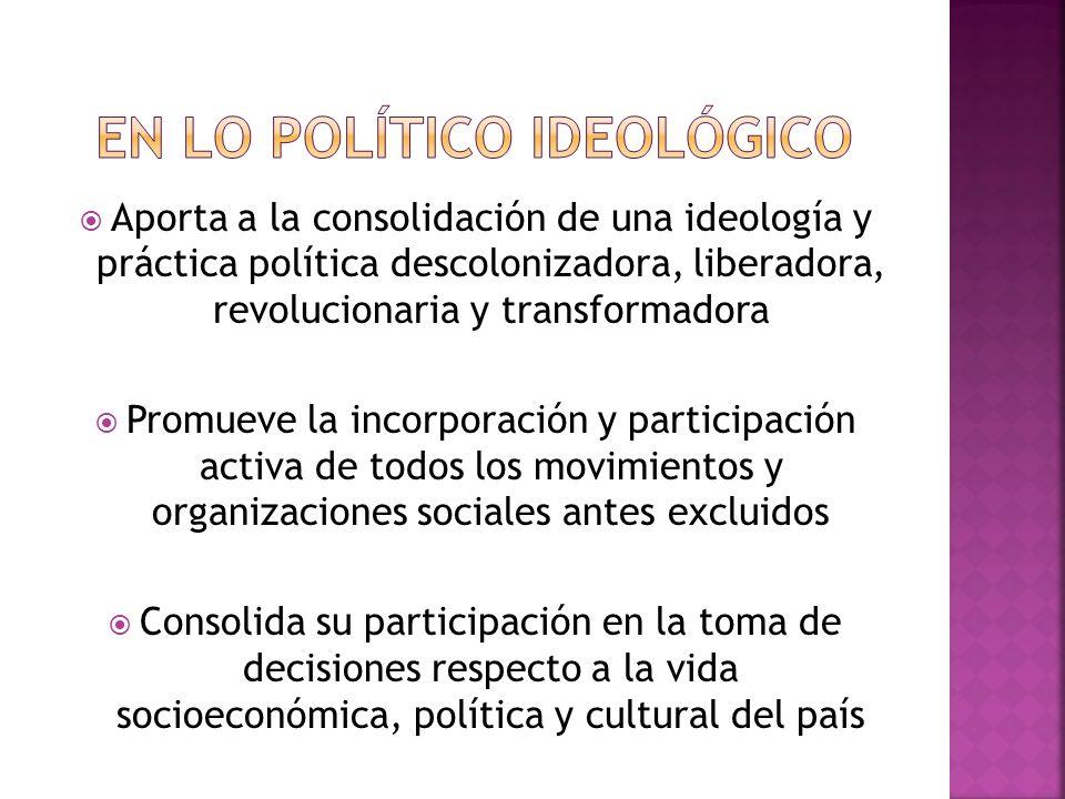 En lo político ideológico