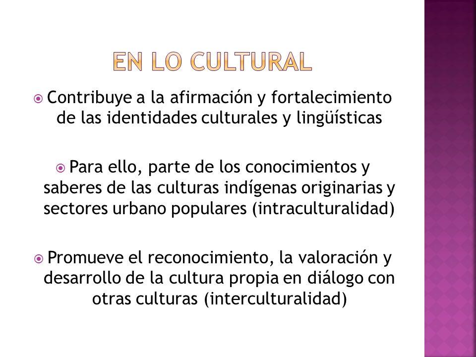 En lo cultural Contribuye a la afirmación y fortalecimiento de las identidades culturales y lingüísticas.