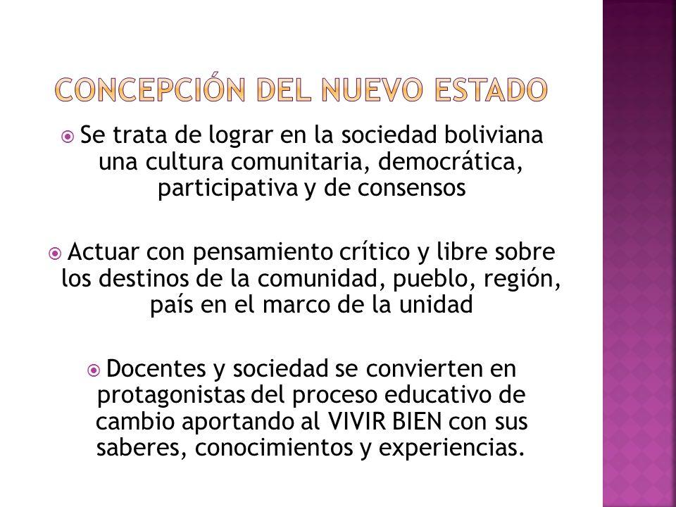 Concepción del nuevo estado
