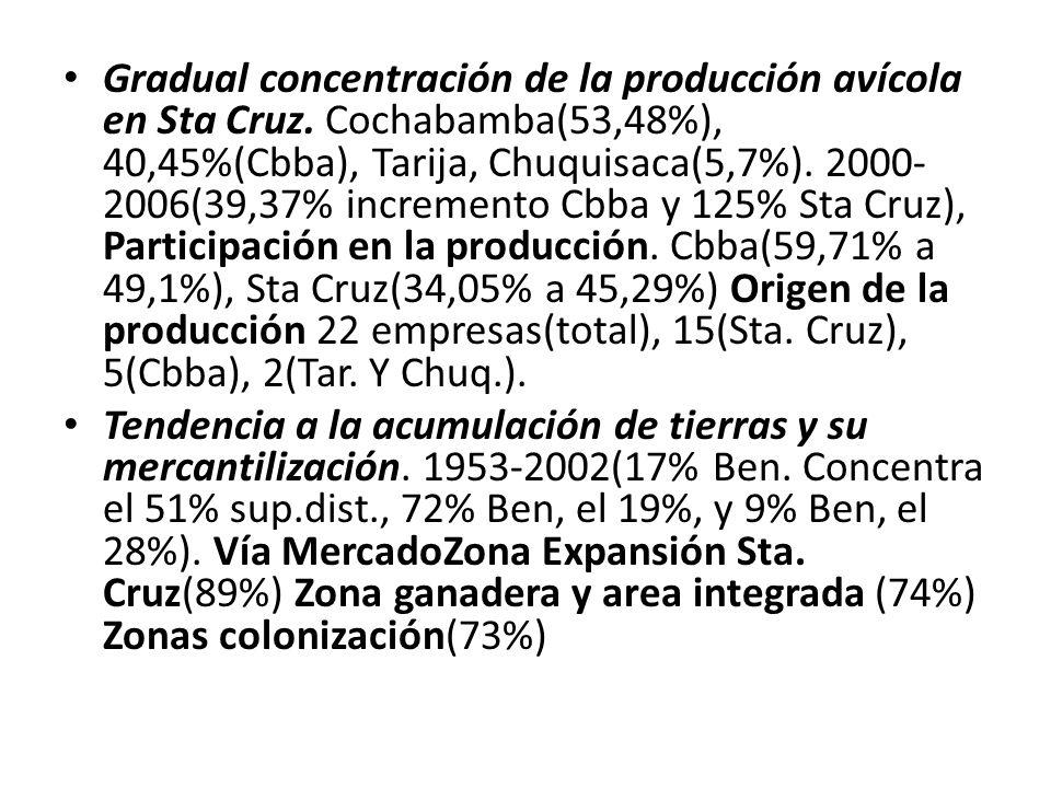 Gradual concentración de la producción avícola en Sta Cruz