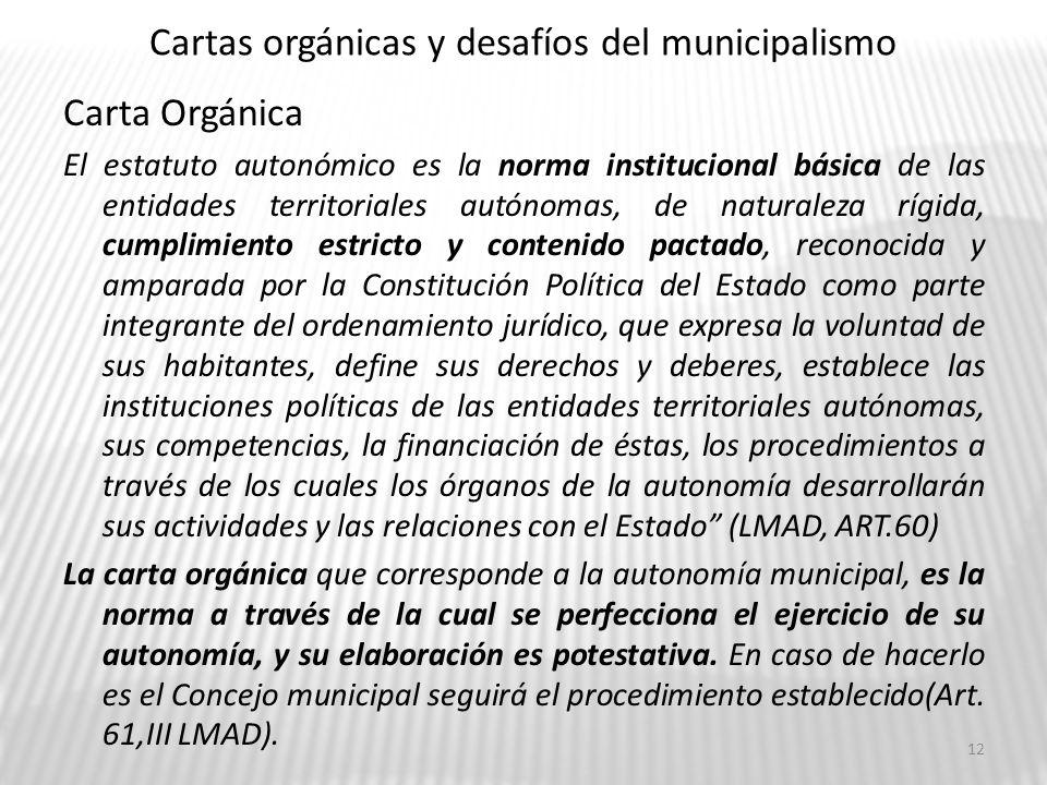 Cartas orgánicas y desafíos del municipalismo