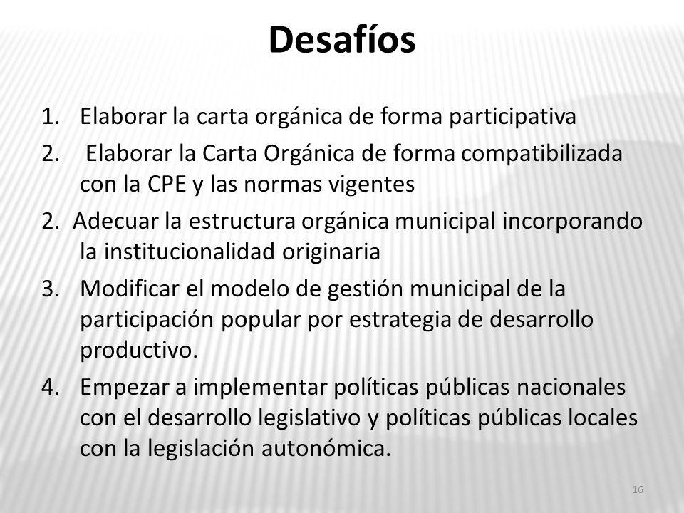 Desafíos Elaborar la carta orgánica de forma participativa