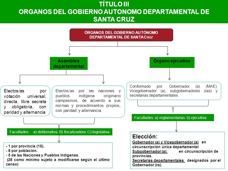 ORGANOS DEL GOBIERNO AUTONOMO DEPARTAMENTAL DE SANTA CRUZ