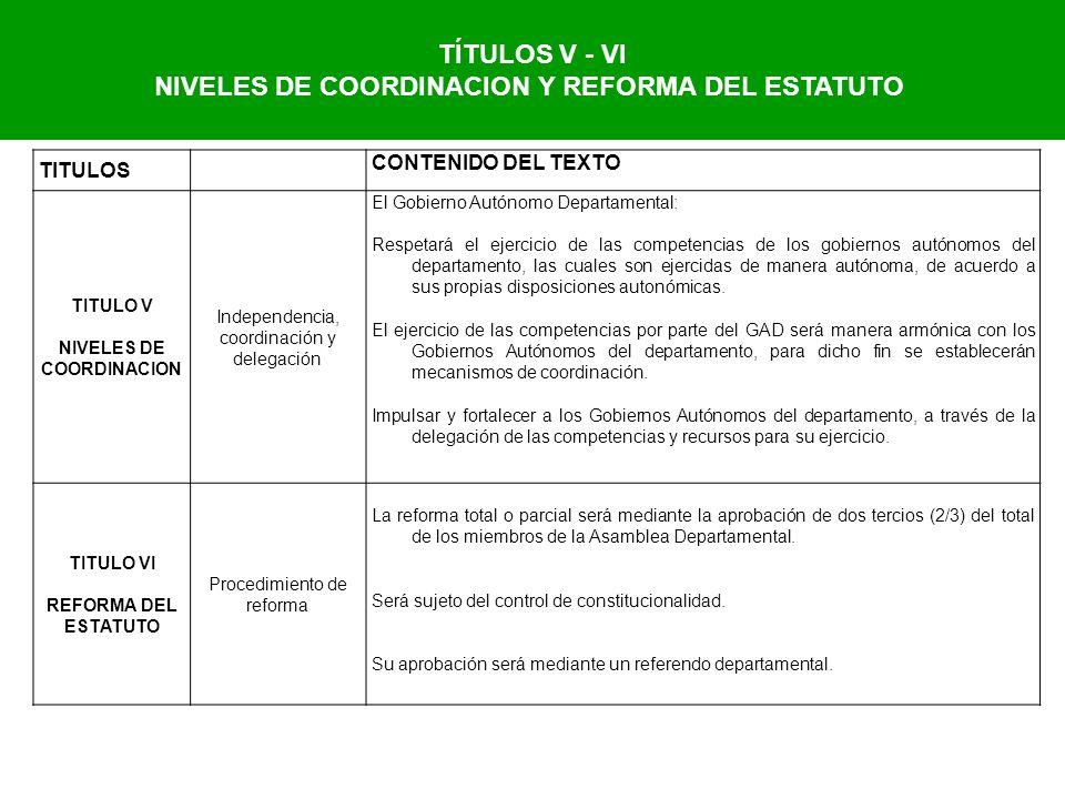 NIVELES DE COORDINACION Y REFORMA DEL ESTATUTO NIVELES DE COORDINACION