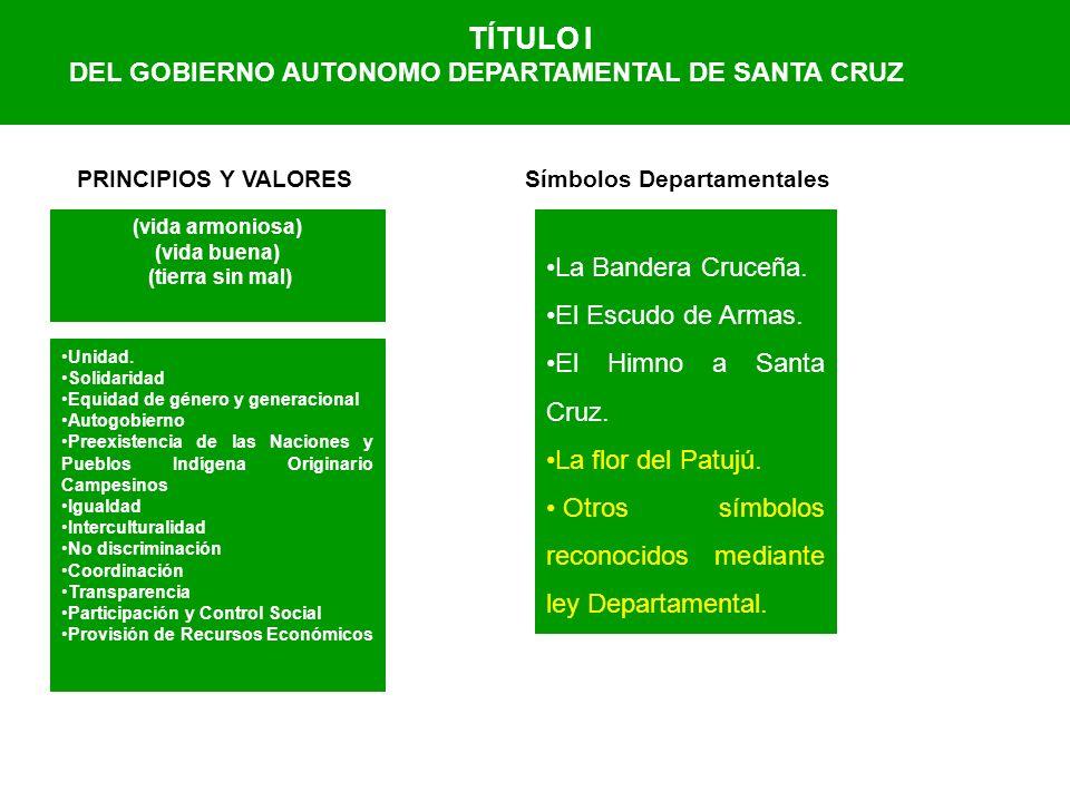 TÍTULO I DEL GOBIERNO AUTONOMO DEPARTAMENTAL DE SANTA CRUZ