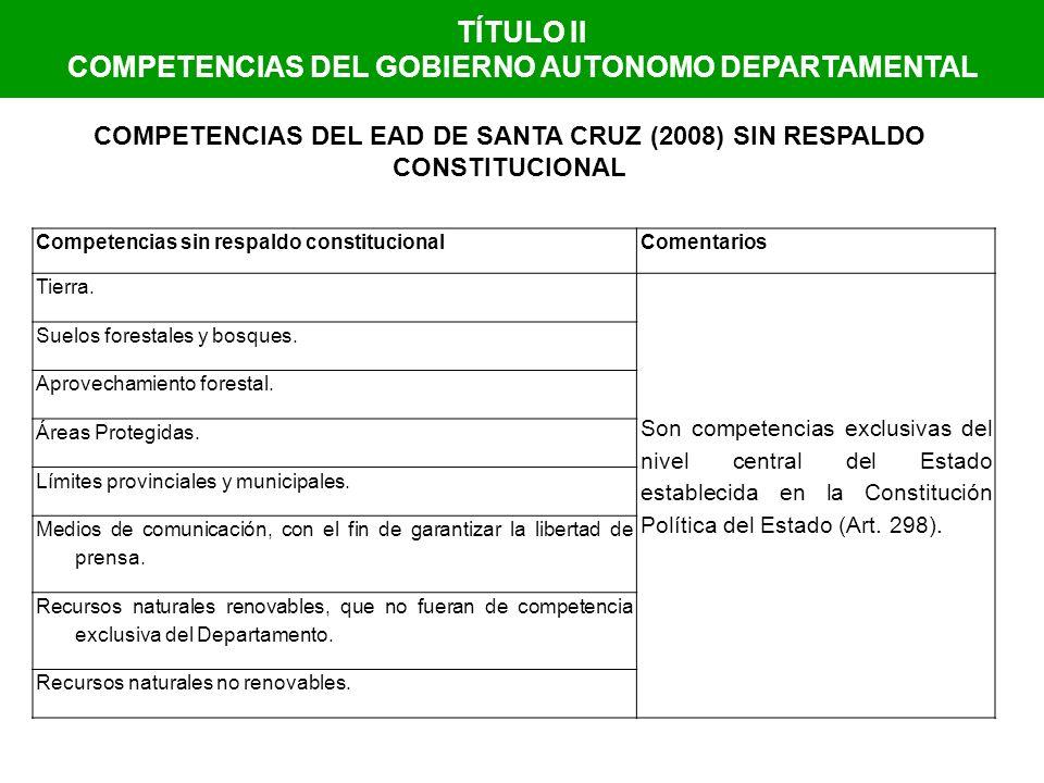 COMPETENCIAS DEL GOBIERNO AUTONOMO DEPARTAMENTAL