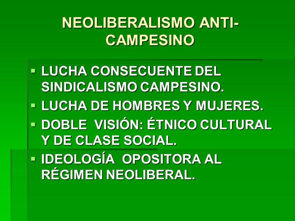 NEOLIBERALISMO ANTI-CAMPESINO
