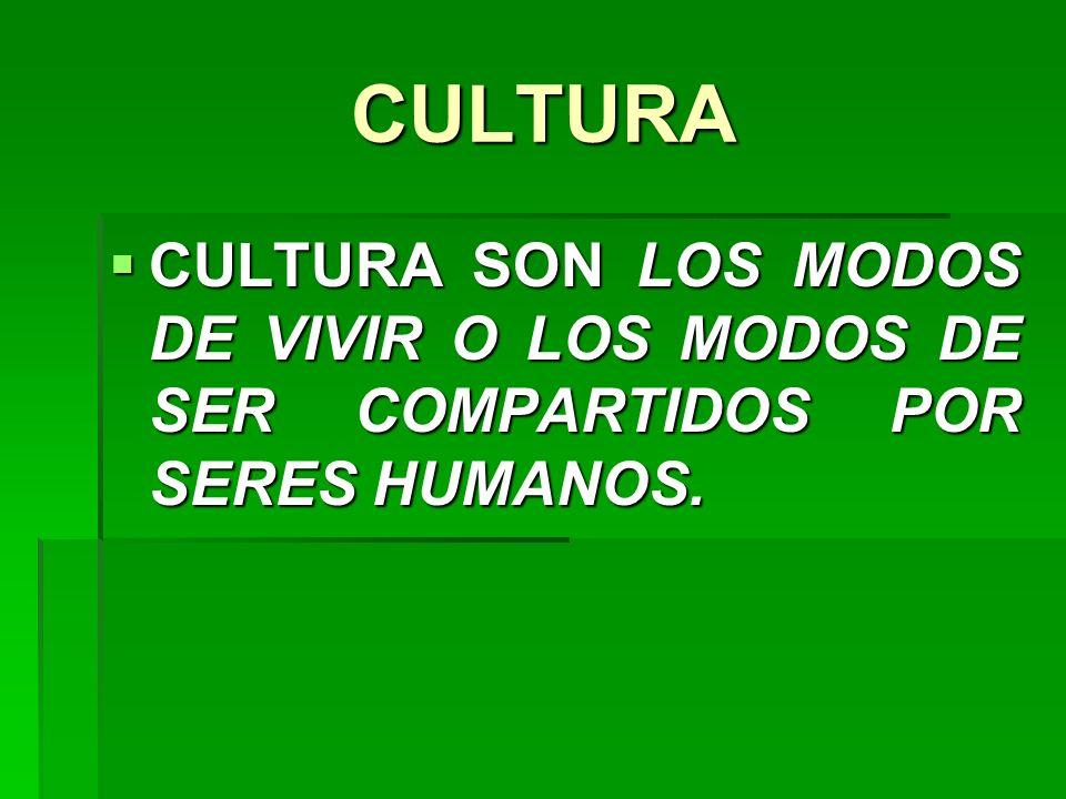 CULTURA CULTURA SON LOS MODOS DE VIVIR O LOS MODOS DE SER COMPARTIDOS POR SERES HUMANOS.