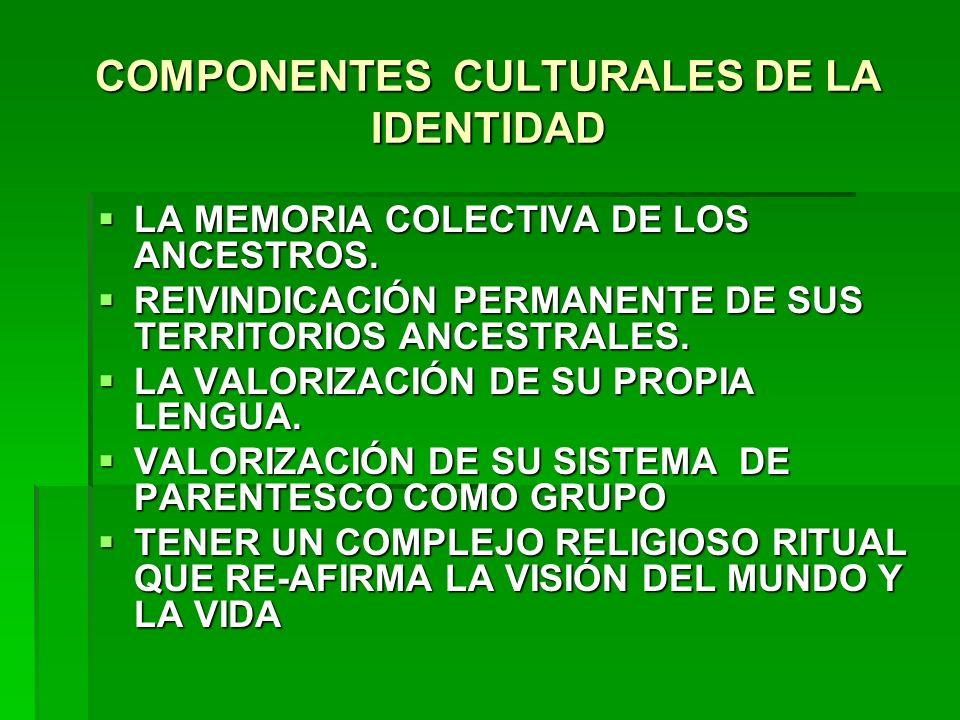 COMPONENTES CULTURALES DE LA IDENTIDAD