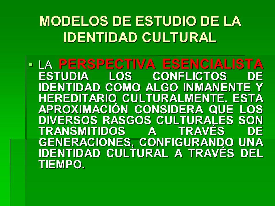 MODELOS DE ESTUDIO DE LA IDENTIDAD CULTURAL