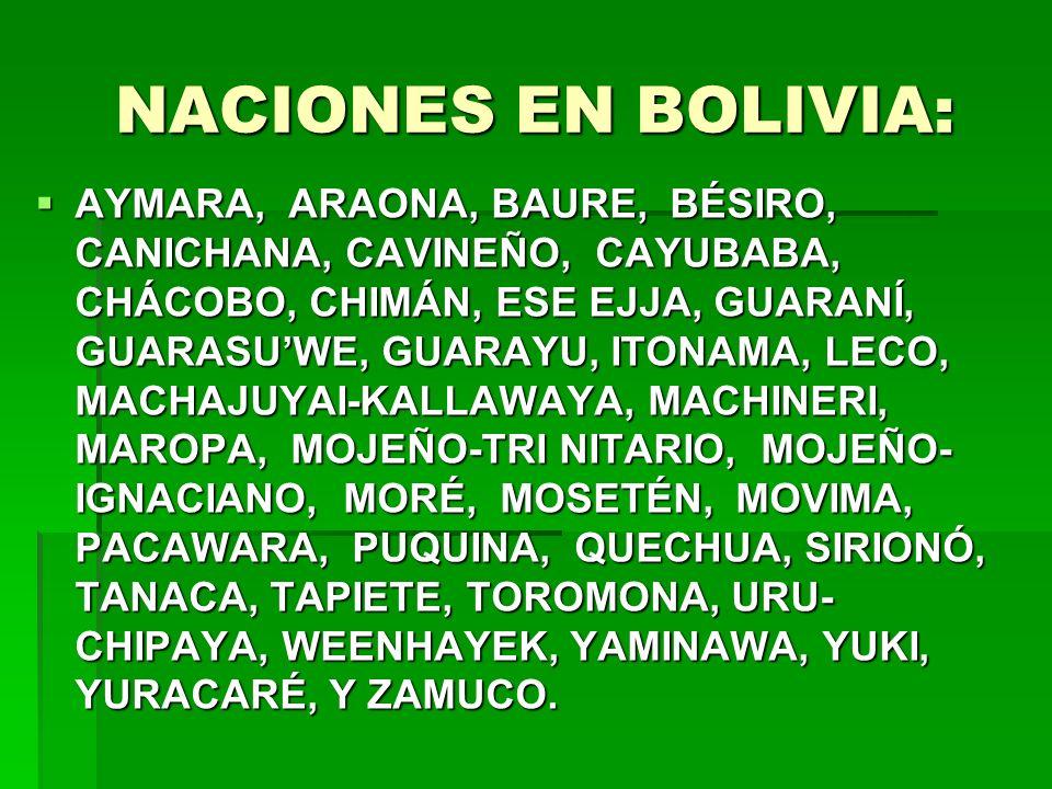 NACIONES EN BOLIVIA: