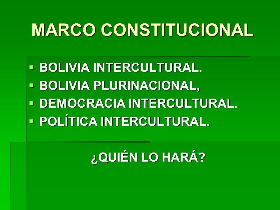 MARCO CONSTITUCIONAL BOLIVIA INTERCULTURAL. BOLIVIA PLURINACIONAL,