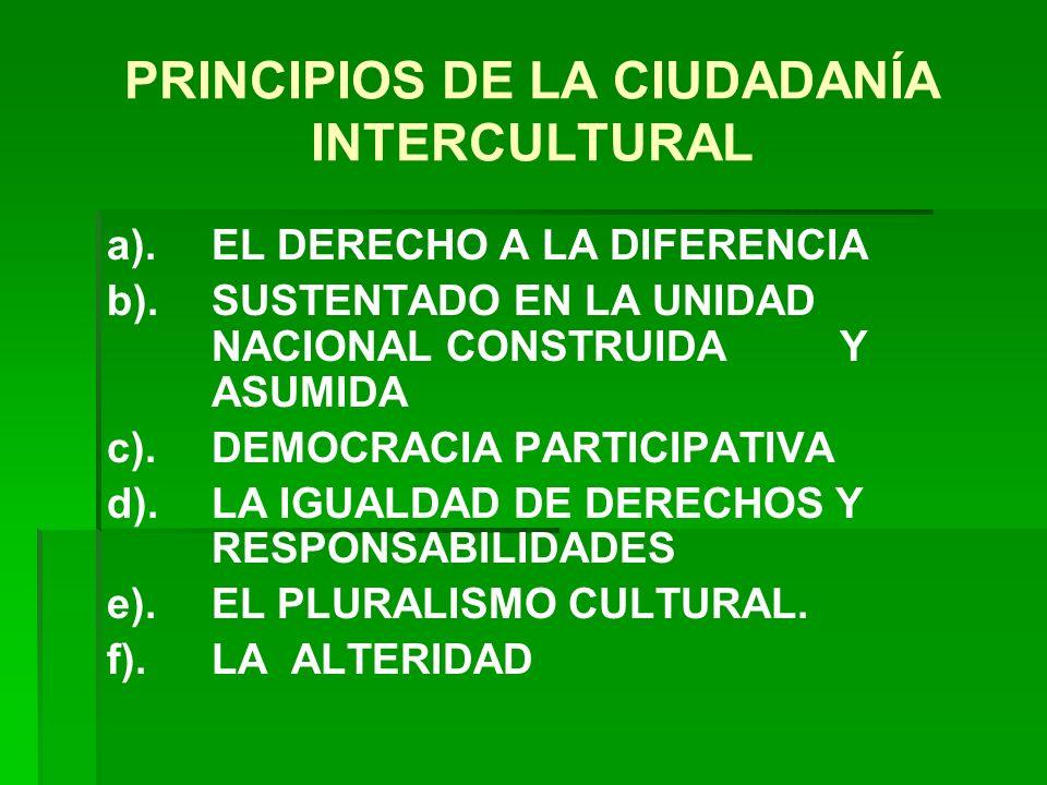 PRINCIPIOS DE LA CIUDADANÍA INTERCULTURAL