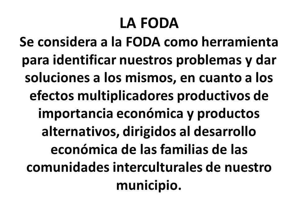 LA FODA Se considera a la FODA como herramienta para identificar nuestros problemas y dar soluciones a los mismos, en cuanto a los efectos multiplicadores productivos de importancia económica y productos alternativos, dirigidos al desarrollo económica de las familias de las comunidades interculturales de nuestro municipio.