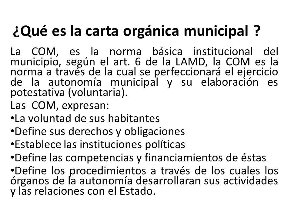 ¿Qué es la carta orgánica municipal