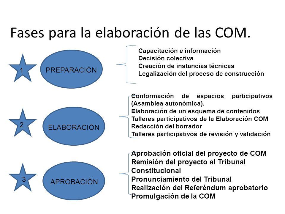 Fases para la elaboración de las COM.