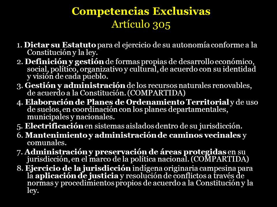 Competencias Exclusivas Artículo 305