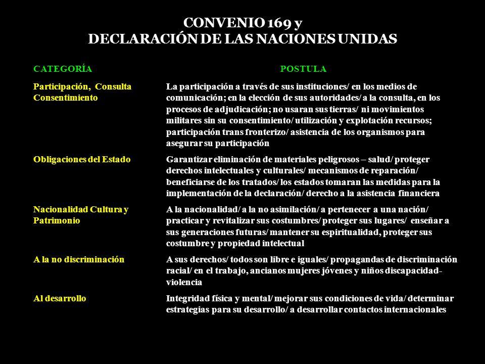 CONVENIO 169 y DECLARACIÓN DE LAS NACIONES UNIDAS