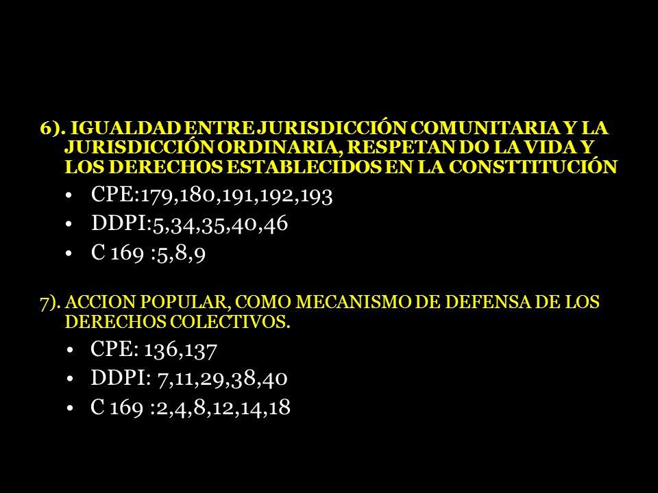6). IGUALDAD ENTRE JURISDICCIÓN COMUNITARIA Y LA JURISDICCIÓN ORDINARIA, RESPETAN DO LA VIDA Y LOS DERECHOS ESTABLECIDOS EN LA CONSTTITUCIÓN