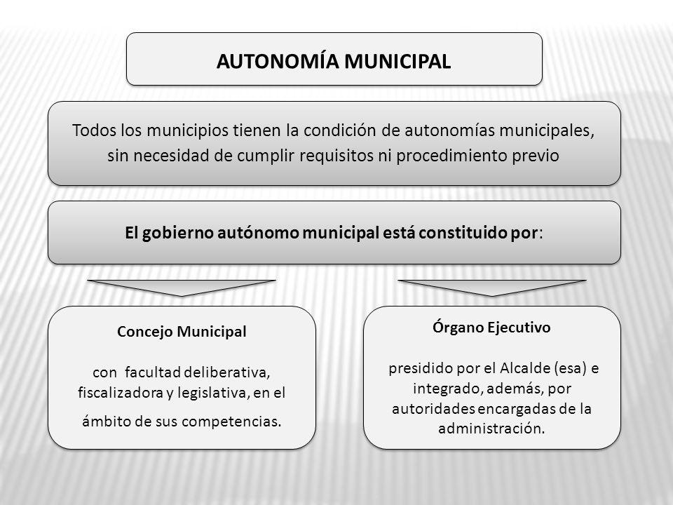Autonomía MUNICIPal Todos los municipios tienen la condición de autonomías municipales, sin necesidad de cumplir requisitos ni procedimiento previo.