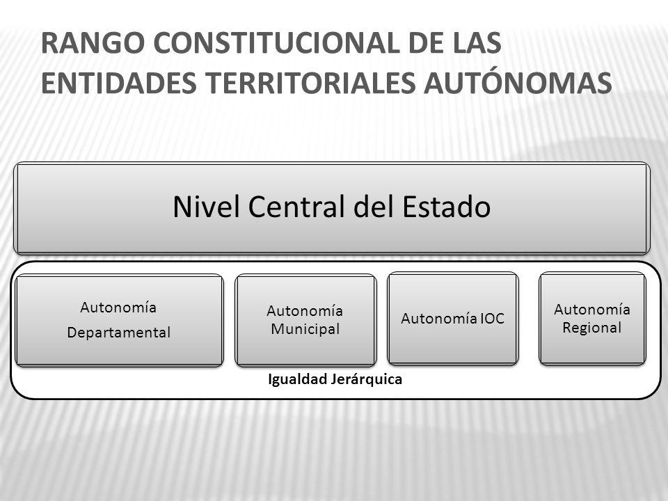 RANGO CONSTITUCIONAL DE LAS ENTIDADES TERRITORIALES AUTÓNOMAS