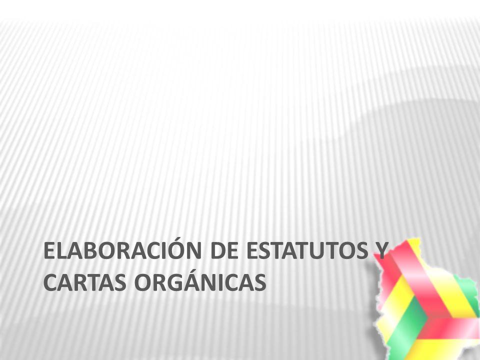 ELABORACIÓN DE ESTATUTOS Y CARTAS ORGÁNICAS
