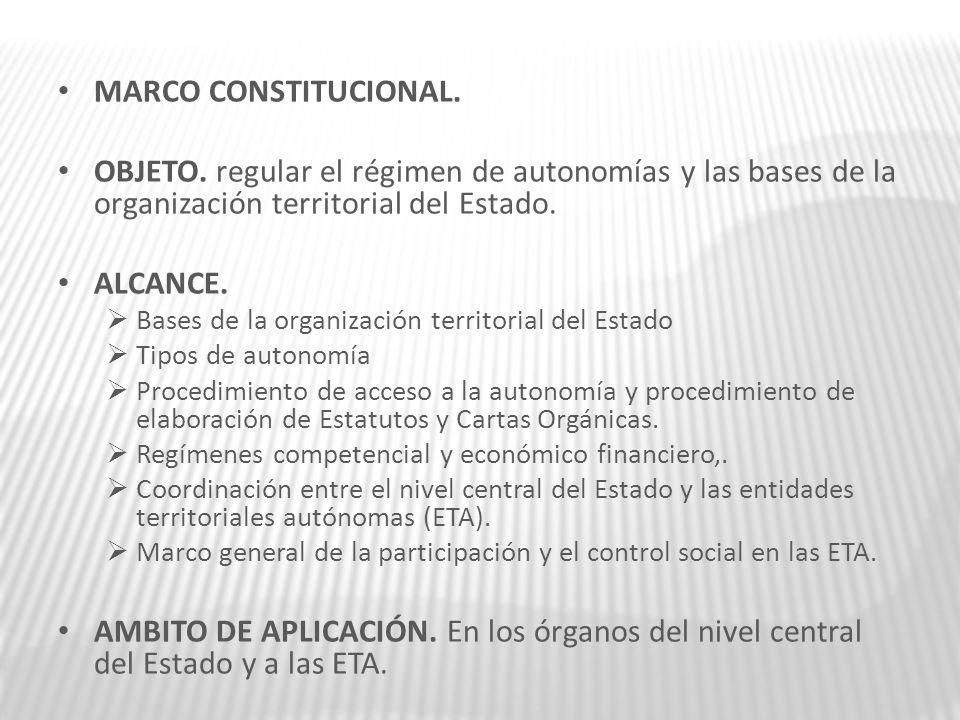 MARCO CONSTITUCIONAL. OBJETO. regular el régimen de autonomías y las bases de la organización territorial del Estado.