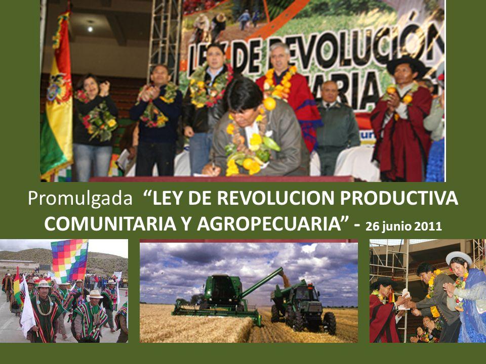Promulgada LEY DE REVOLUCION PRODUCTIVA COMUNITARIA Y AGROPECUARIA - 26 junio 2011