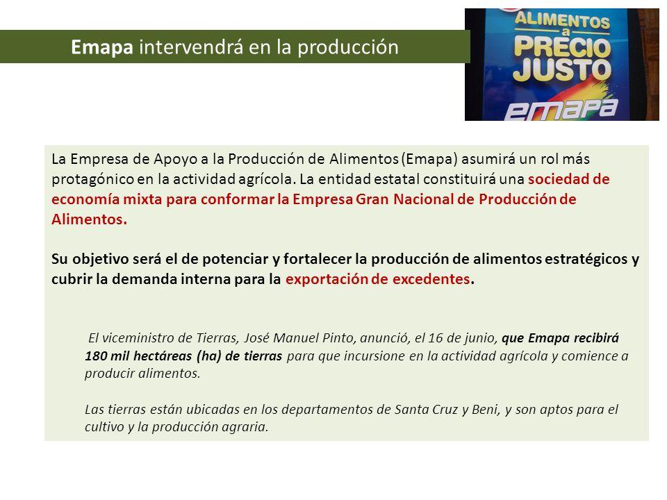 Emapa intervendrá en la producción