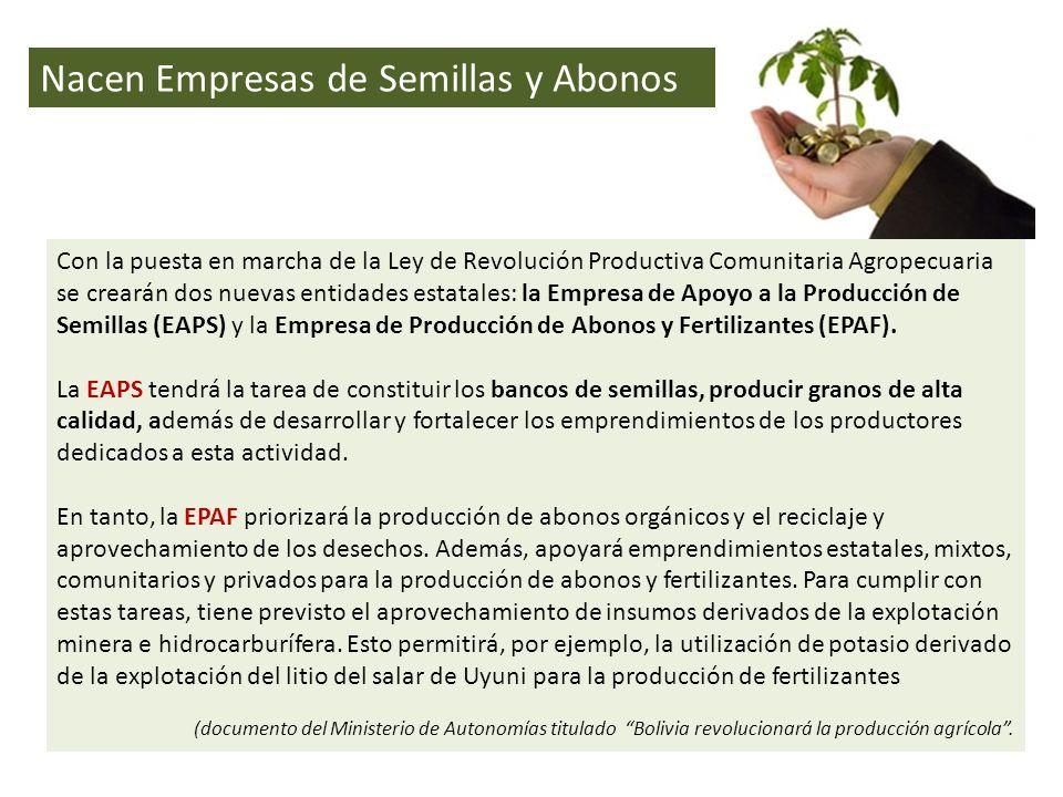 Nacen Empresas de Semillas y Abonos