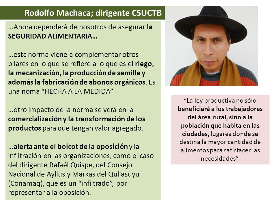 Rodolfo Machaca; dirigente CSUCTB