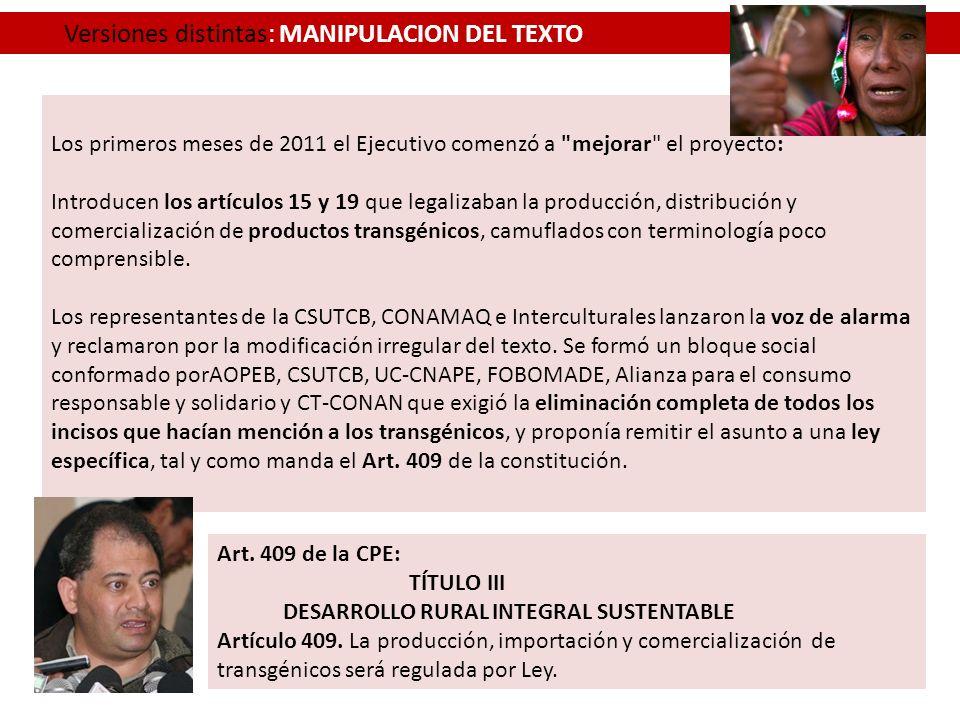 Versiones distintas: MANIPULACION DEL TEXTO