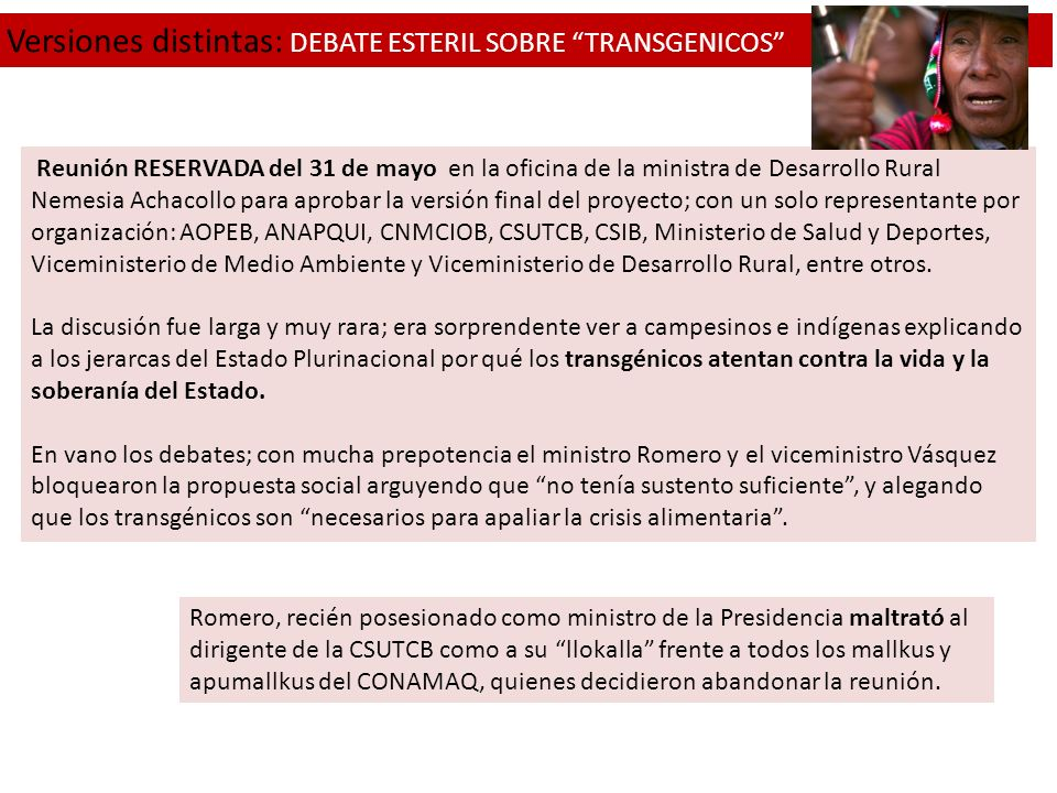 Versiones distintas: DEBATE ESTERIL SOBRE TRANSGENICOS