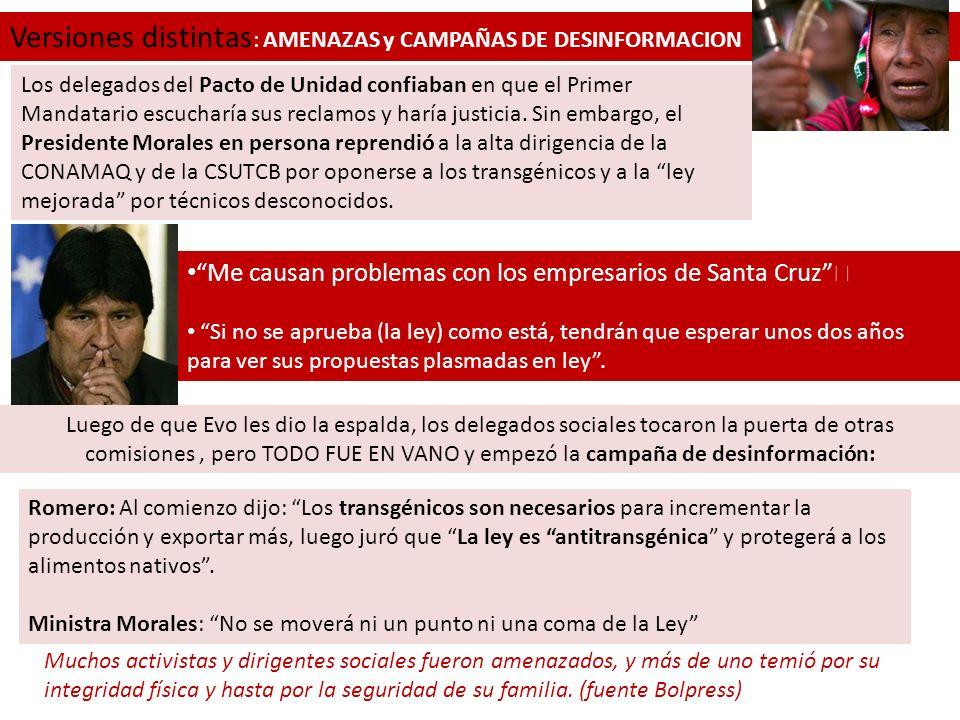 Versiones distintas: AMENAZAS y CAMPAÑAS DE DESINFORMACION