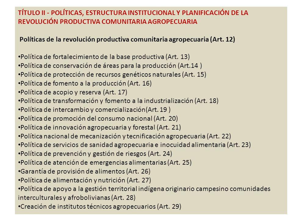 TÍTULO II - POLÍTICAS, ESTRUCTURA INSTITUCIONAL Y PLANIFICACIÓN DE LA REVOLUCIÓN PRODUCTIVA COMUNITARIA AGROPECUARIA