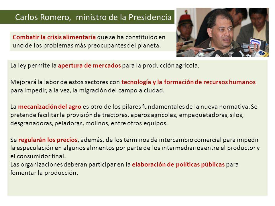 Carlos Romero, ministro de la Presidencia