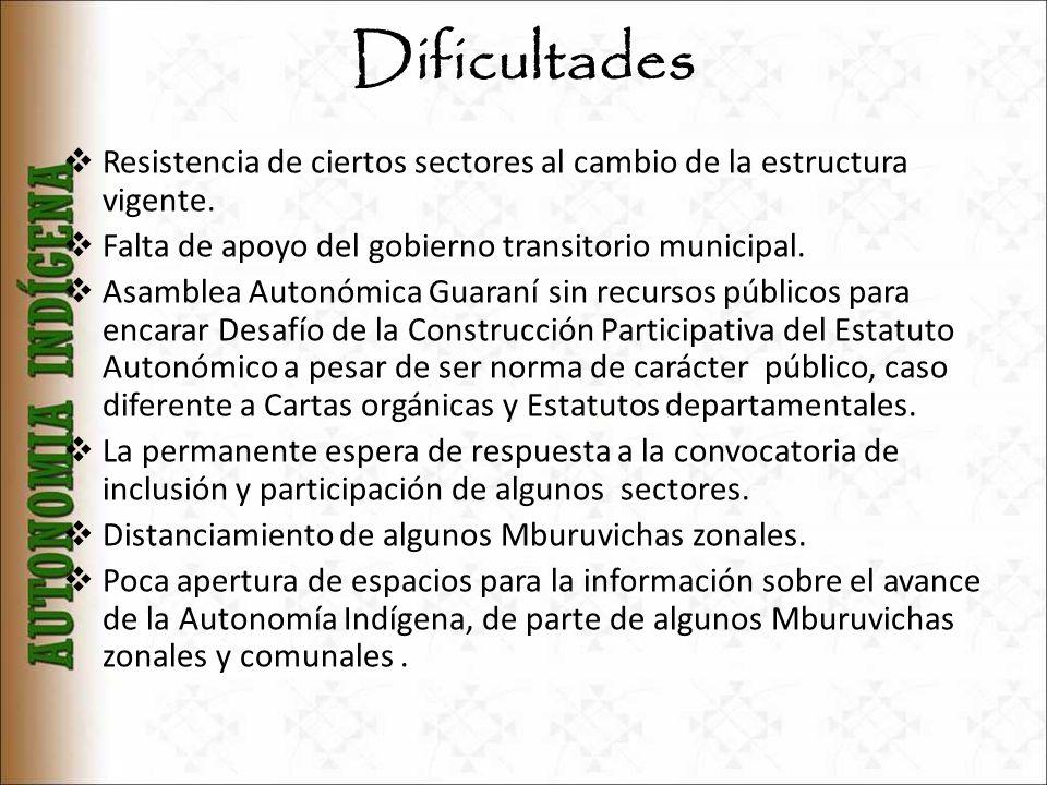Dificultades Resistencia de ciertos sectores al cambio de la estructura vigente. Falta de apoyo del gobierno transitorio municipal.