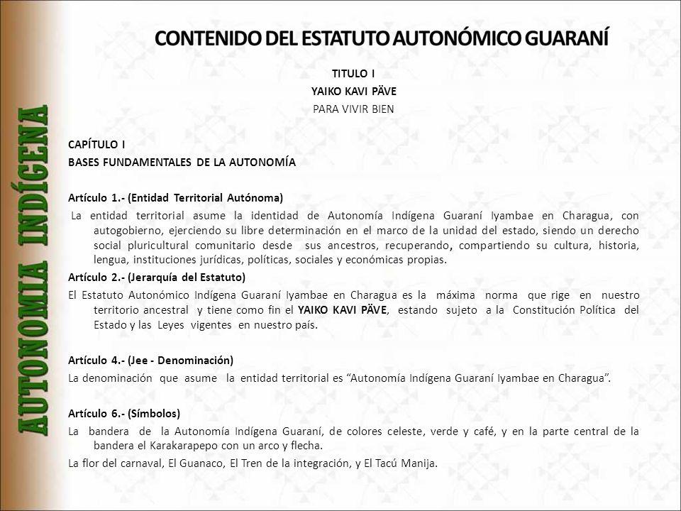 TITULO I YAIKO KAVI PÄVE PARA VIVIR BIEN CAPÍTULO I BASES FUNDAMENTALES DE LA AUTONOMÍA Artículo 1.- (Entidad Territorial Autónoma) La entidad territorial asume la identidad de Autonomía Indígena Guaraní Iyambae en Charagua, con autogobierno, ejerciendo su libre determinación en el marco de la unidad del estado, siendo un derecho social pluricultural comunitario desde sus ancestros, recuperando, compartiendo su cultura, historia, lengua, instituciones jurídicas, políticas, sociales y económicas propias.