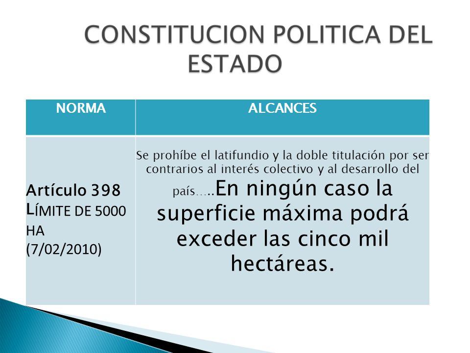 Artículo 398 LÍMITE DE 5000 HA (7/02/2010) NORMA ALCANCES