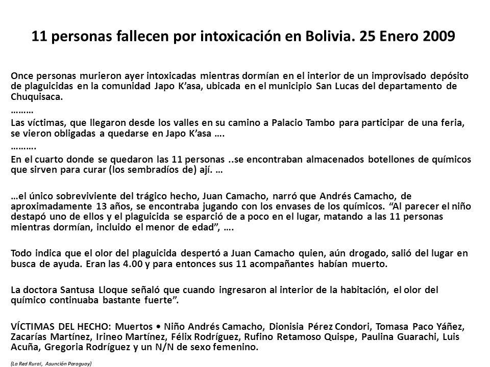 11 personas fallecen por intoxicación en Bolivia. 25 Enero 2009